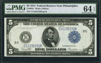 Fr. 855c $5 1914 Federal Reserve Note PMG Choice Uncirculated 64 EPQ
