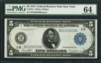 Fr. 851a $5 1914 Federal Reserve Note PMG Choice Uncirculated 64