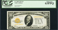Small Size:Gold Certificates, Fr. 2400 $10 1928 Gold Certificate. PCGS Choice New 63PPQ.. ...