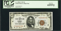 Fr. 1850-F $5 1929 Federal Reserve Bank Note. PCGS Gem New 65PPQ