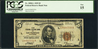 Low Serial Number L00002239A Fr. 1850-L $5 1929 Federal Reserve Bank Note. PCGS Fine 15