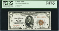 Low Serial Number B00001127A Fr. 1850-B $5 1929 Federal Reserve Bank Note. PCGS Very Choice New 64PPQ