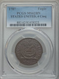 1787 Fugio Cent, STATES UNITED, 4 Cinquefoils, Pointed Rays, MS62 Brown PCGS. N. 13-X, W-6855, R.2