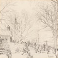Works on Paper, Norman Rockwell (American, 1894-1978). Spring: Schools Out, study for Brown & Bigelow Calendar, 1959. Pencil on paper. 1...