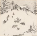 Works on Paper, Norman Rockwell (American, 1894-1978). Winter: Sledding, study for Brown & Bigelow Calendar, 1959. Pencil on paper. 13-1...