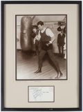 Boxing Collectibles:Autographs, Jack Dempsey Signed Post Card Display....