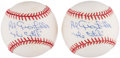 "Autographs:Baseballs, Al Gionfriddo Single Signed Baseball Pair (2) - ""The Catch""Inscription. ..."