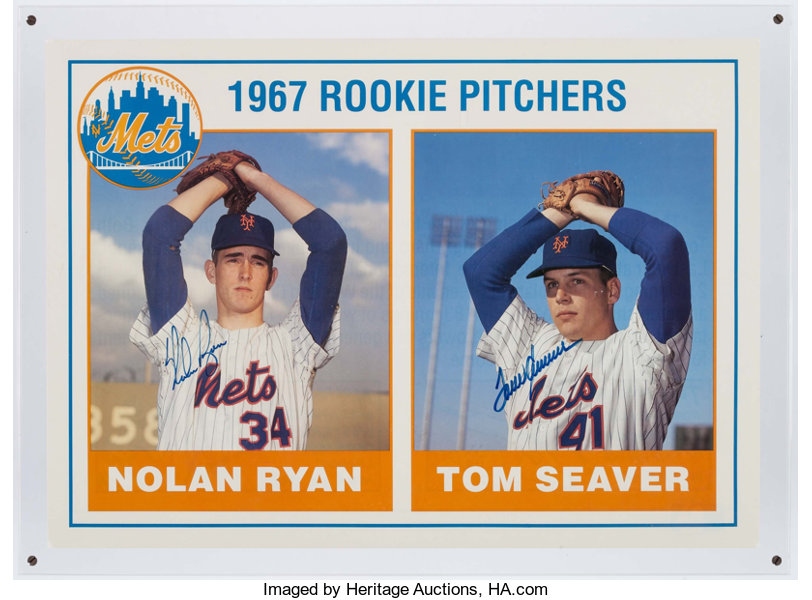 Nolan Ryan And Tom Seaver Dual Signed Oversized Rookie Card