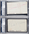 Autographs:Index Cards, 1970's Thurman Munson Signed Cut Signatures, PSA/DNA Authentic....