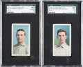Baseball Cards:Lots, 1910-11 M116 Sporting Life HoFers (Blue Background) SGC-Graded Pair(2). ...