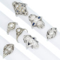 Estate Jewelry:Rings, Art Deco Diamond, Sapphire, Synthetic Sapphire, Platinum, WhiteGold Rings. ... (Total: 7 Items)