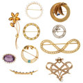 Estate Jewelry:Brooches - Pins, Diamond, Multi-Stone, Cultured Pearl, Seed Pearl, Gold Brooches.... (Total: 10 Items)