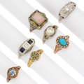 Estate Jewelry:Rings, Diamond, Multi-Stone, Seed Pearl, Enamel, Gold Rings. ... (Total: 7Items)