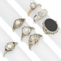 Estate Jewelry:Rings, Art Deco Diamond, Onyx, White Gold Rings. ... (Total: 7 Items)
