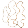 Estate Jewelry:Pearls, Freshwater Cultured Pearl, Gold Necklaces. ... (Total: 3 Items)