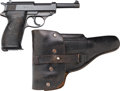 Handguns:Semiautomatic Pistol, German Mauser byf 43 P38 Semi-Automatic Pistol with Leather Holster.... (Total: 2 Items)