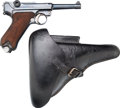 Handguns:Semiautomatic Pistol, German DWM 1920 Commercial Weimar Police Luger Semi-AutomaticPistol with Leather Holster.... (Total: 2 Items)