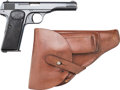 Handguns:Semiautomatic Pistol, Belgian FN Browning Semi-Automatic Pistol with Leather Holster.... (Total: 2 Items)