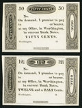 Obsoletes By State:Ohio, Worthington, OH- (Ezra Griswold) 12-1/2¢ 18__ and 50¢ 18__Remainders. ... (Total: 2 notes)
