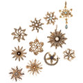 Estate Jewelry:Brooches - Pins, Diamond, Multi-Stone, Cultured Pearl, Seed Pearl, Gold Brooches. .... (Total: 11 Items)