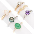 Estate Jewelry:Rings, Diamond, Multi-Stone, Cultured Pearl, Gold Rings. . ... (Total: 6Items)