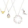 Estate Jewelry:Pendants and Lockets, Colored Diamond, Diamond, South Sea Cultured Pearl, GoldPendant-Necklaces. ... (Total: 4 Items)
