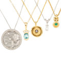 Estate Jewelry:Pendants and Lockets, Diamond, Multi-Stone, Cultured Pearl, Gold Pendant-Necklaces . ...(Total: 5 Items)