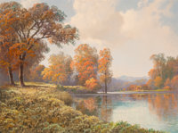 A.D. Greer (American, 1904-1998) Lakeside in the Fall Oil on canvas 30 x 40 inches (76.2 x 101.6