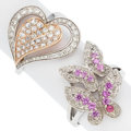 Estate Jewelry:Rings, Pink Sapphire, Diamond, White Gold Rings. ...