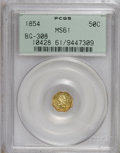 California Fractional Gold: , 1854 50C Liberty Octagonal 50 Cents, BG-308, R.4, MS61 PCGS. PCGSPopulation (13/51). NGC Census: (3/7). (#10428)...