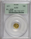 California Fractional Gold: , 1871 50C Liberty Round 50 Cents, BG-1030, R.6, AU58 PCGS. . PCGSPopulation (2/7). (#10859)...