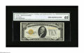 Small Size:Gold Certificates, Fr. 2400* $10 1928 Gold Star Certificate. CGA Gem Uncirculated 65.. A well centered example of this Gold star which is a com...