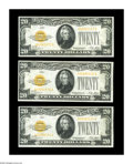Small Size:Gold Certificates, Fr. 2402 $20 1928 Gold Certificates. About Uncirculated.. A trio of $20 Gold Certificates, two of which are consecutive. All... (Total: 3 notes)