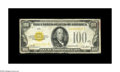 Small Size:Gold Certificates, Fr. 2405* $100 1928 Gold Certificate. Very Good.. A well circulated example of this very scarce high denomination Gold star,...
