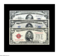Small Size:Group Lots, Three Diverse Stars.. Fr. 1531* $5 1928F Wide I Legal Tender Note. XF. Fr. 1651* $5 1934A Silver Certificate. Gem CU... (Total: 3 notes)