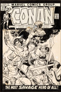 Original Comic Art:Covers, Gil Kane Conan the Barbarian #12 Cover Original Art (Marvel, 1971)....