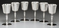 Silver Holloware, British, Six Cornelius Joshua Vander Ltd. Silver Wine Goblets in Box,London, 1964. Marks: (lion passant), (leopard's head), i, C....(Total: 6 Items)