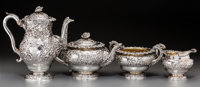 A Four-Piece Edward Farrell Silver Tea and Coffee Service, London, 1826 Marks: (lion passant), (leopard's head), (