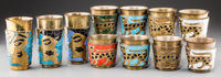 Fourteen Salvador Terán Brass and Glass Mosaic Tumblers, Mexico City, post-1950 Marks: HANDWROUGHT, HECHO EN ME...