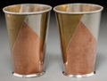 Silver Smalls, A Pair of Los Castillo Mexican Mixed Metals Tumblers, Taxco, circa1950-1965. Marks: METALES CASTILLO, HAND WROUGHT, MADE ...(Total: 2 Items)