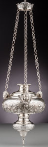 Silver Holloware, Continental:Holloware, A Jan Van Damme Dutch Silver Sanctuary Figural Hanging Lamp, late19th-early 20th century. Marks: J.V. DAMME, (Netherlan...