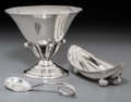 Silver Holloware, American:Bowls, A Tiffany & Co Silver Pickle Dish, Jensen-Style Compote, andJensen-Style Cream Ladle, late 19th-20th centuries. Marks: (var...(Total: 3 Items)