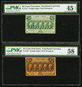 Fractional Currency:First Issue, Fr. 1281 25¢ First Issue PMG Choice About Unc 58. Fr. 1312 50¢First Issue PMG Choice Extremely Fine 45 EPQ.. ... (Total: 2 notes)