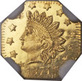 California Fractional Gold , 1874/3 50C Indian Octagonal 50 Cents, BG-943, High R.4, MS66Prooflike NGC....
