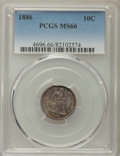 Seated Dimes: , 1886 10C MS66 PCGS. PCGS Population: (40/9). NGC Census: (53/10). Mintage 6,376,684. ...