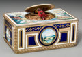 Decorative Arts, Continental, A German Enameled and Gilt Metal Singing Bird Automaton Box, WorksAttributed to Karl Griesbaum, Case by Emil Brenk, mid-20t...