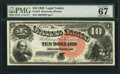 Large Size:Legal Tender Notes, Fr. 107 $10 1880 Legal Tender PMG Superb Gem Unc 67 EPQ.. ...