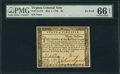 Colonial Notes:Virginia, Virginia May 1, 1780 $3 PMG Gem Uncirculated 66 EPQ.. ...