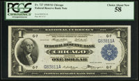 Fr. 727 $1 1918 Federal Reserve Bank Note PCGS Choice About New 58