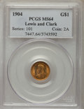 Commemorative Gold, 1904 G$1 Lewis and Clark Gold Dollar MS64 PCGS. PCGS Population:(642/530). NGC Census: (396/313). CDN: $1,700 Whsle. Bid f...